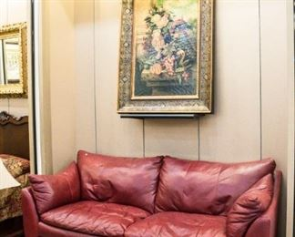 LOVE this all leather burgundy sofa!  We actually have two of them!