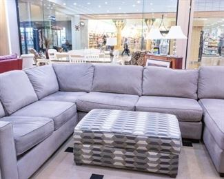 Large gray sectional and ottoman!  Has a chaise on the end that is not shown.