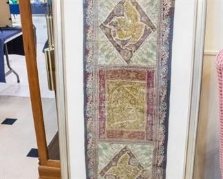 "LOVE THIS ANTIQUE JEWELED FABRIC TAPESTRY!!  Framed it measure 58"" x 27"".  The original price is still on the back, which is $738.00.  The following is listed on the back:   4runjewel antique jewel fabric jari na  LOC sho-bon"