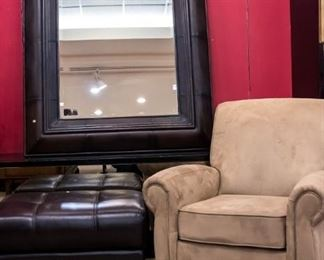 Microfiber chair - excellent condition - ottoman/matching mirror!