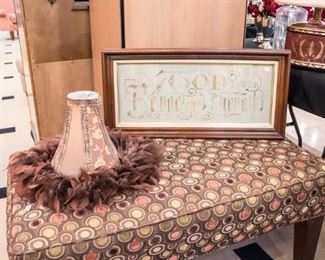 Fabric bench, lampshade and matching picture 'God is our Refuge and Strength'.