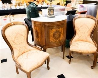 Love these sitting chairs!  The antique marble top table has been pulled by our client (decided to keep it!) and is no longer available.