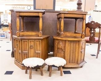 Vintage needlepoint stools and end tables