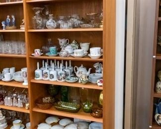 Bell collection, tea cups, Denim Days, vintage glassware and new!