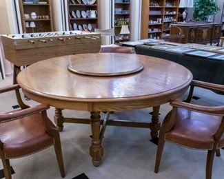 """Keller 63"""" Large Oak Table!  The Lazy Susan and vintage leather chairs are sold separately."""