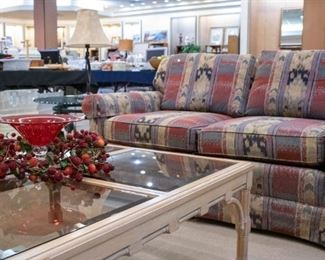 Glass Coffee Table and love seat!