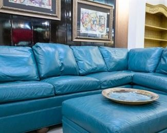 Ethan Allen leather sectional and Ottoman!