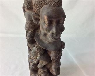 "Carved Wood African Man and Children, 13"" H."