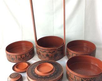 "7-Piece Burmese Nesting Picnic Boxes, 22"" H."