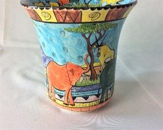 """Zimbabwe Painted Vase, 9"""" H."""