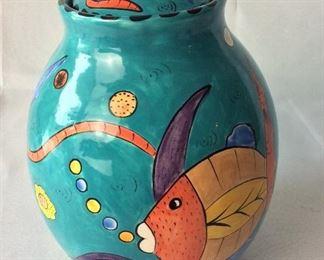 """Zimbabwe Painted Lidded Jar, 10"""" H."""