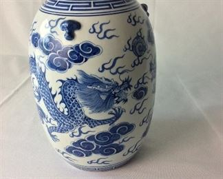"Hand Painted Asian Lidded Jar, 12"" H."