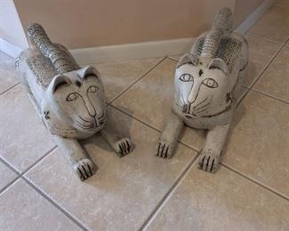 "Thailand Large 2-Part Wooden Cats with Decorative Glass, 24"" L."