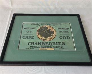 """Chanticleer Brand Cranberries, Cape Cod, Label itself is 10"""" x 6 3/4""""."""