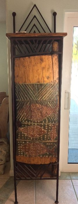 Tonga Door and Wrought Iron Wine Storage Rack Made by The Valley Forge, Zimbabwe.  From the Tonga Tribe, Zambezi River, Zimbabwe.