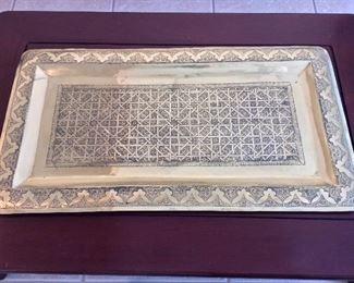 """Brass Tray, Morocco, 36""""  x 20""""."""