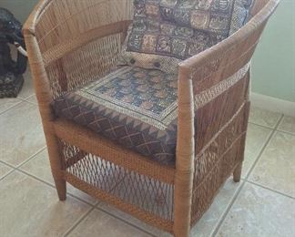 Malawi African Cane Chair with Cushions Made in Zimbabwe.