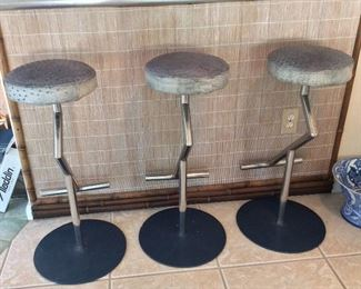 Ostrich Skin Bar Stools with Stainless Steel Base, Phillipines.