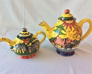 "Hand Painted Teapots, Penzo, Zimbabwe. 9"" H for tallest."