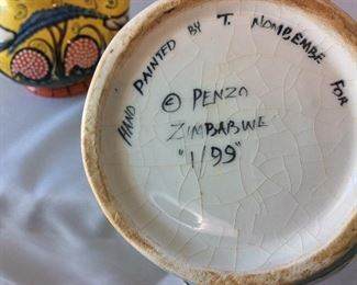 """Hand Painted Teapots, Penzo, Zimbabwe. 9"""" H for tallest (reverse)."""
