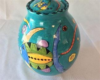 """Hand Painted Lidded Vase, Penzo, Zimbabwe, 10 1/2"""" H."""