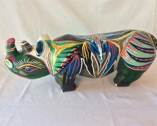 Carved and Painted Wood Rhinoceros, Zimbabwe.