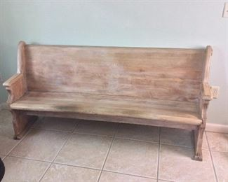 "Church Pew Bench from Georgetown, Washington, D.C., 73"" L."