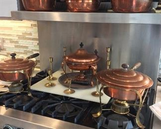 Copper Chafing Dishes and Cookware.