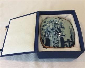 "Chinese Shard Box, 5 1/2"" x 5 1/2""."