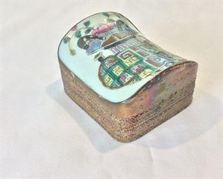"Chinese Shard Box, 4 1/4"" x 3 3/4""."