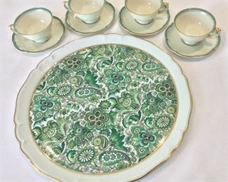 Limoges Plate and Royal Bayreur Normandie Bavaria Tea Cups and Saucers.