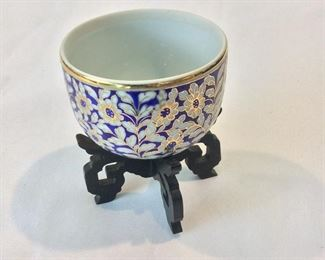 "Painted Cup and Stand, 4"" H."
