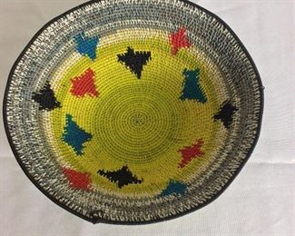 "Colorful Wire Bowl, 2 3/4"" H, 9 1/2"" diameter."