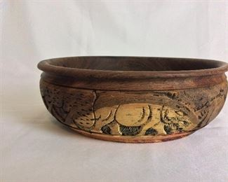 "Zaire Carved Bowl, 3 3/4"" H, 11"" diameter."