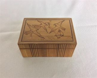 "Carved Box, 4 1/2"" W x 3"" D x 2"" H."