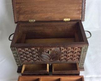 "Carved Wood Box with Brass Hardware, 17"" W x 9 1/2"" H 9 1/2"" D."