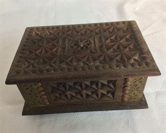 "Carved Wood Box, 8 12"" W x 4"" H x 5 1/2"" D."
