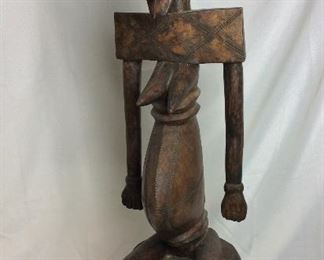 """Carved Wood Fertility Statue, 39"""" H."""
