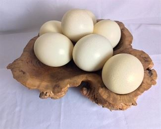 Seven Ostrich Eggs in a Burlwood Bowl from Australia.