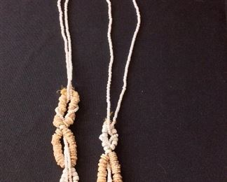 "Ostrich Shell Bead Necklace, 27"" L."