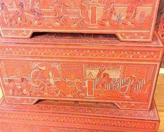 """Carved Nesting Trunks, Burma. Small 19"""" W x 8"""" H x 11 1/2"""" D. Medium 21 1/2"""" W x 10 1/2"""" H x 13"""" D. Large 24"""" W x 13"""" H x 16"""" D."""