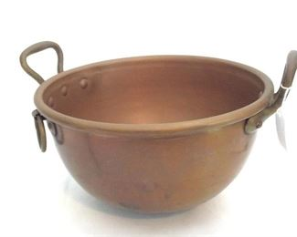 "Handled Copper Bowl, 11"" diameter, 6"" deep. Made in France."