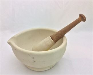 "Mortar 10"" W, Pestle 10 1/2"" L. Warranted Acid Proof, Made in England."