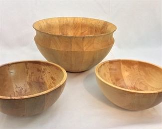 "11 1/2"" diameter, 6 1/2"" deep Dansk Bowl from Thailand and two Wood Bowls."