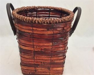 "Basket with Leather Handles, 10"" H."