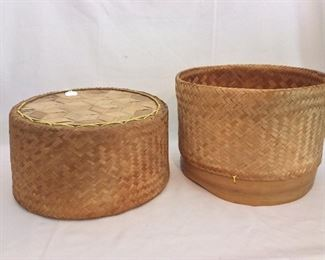 "Thailand Sticky Rice Basket, 10"" H and 13"" diameter."