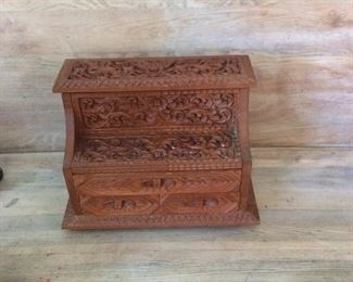 "Hand Carved Thailand Jewelry Box, 14"" W x 10"" H x 7 1/2"" D."