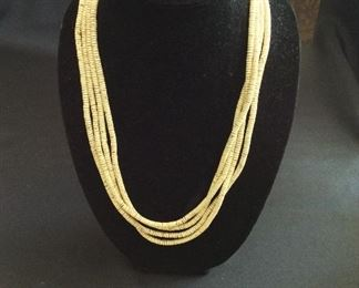 "Ostrich Shell Bead Necklace, 128"" L."