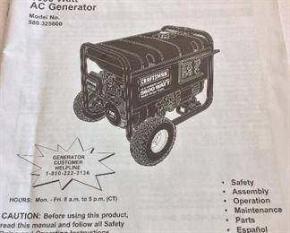 Craftsman 5600 Watt AC Generator.
