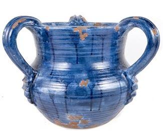 3 Handled Glazed Blue Terracotta Pot
